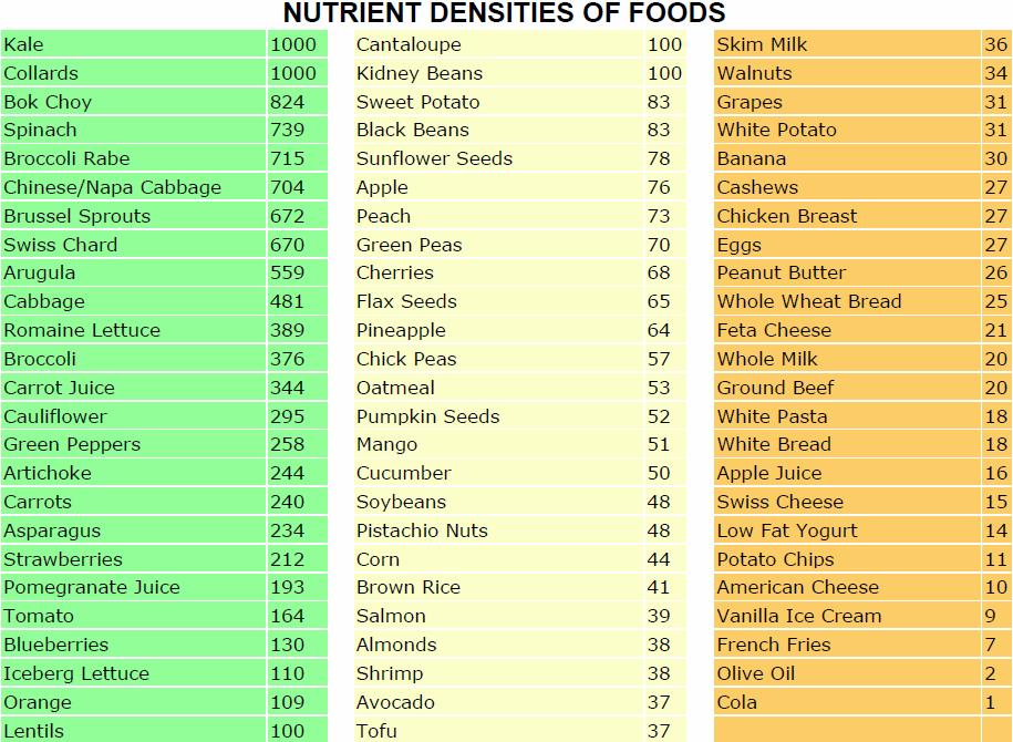Calorie Dense Foods List